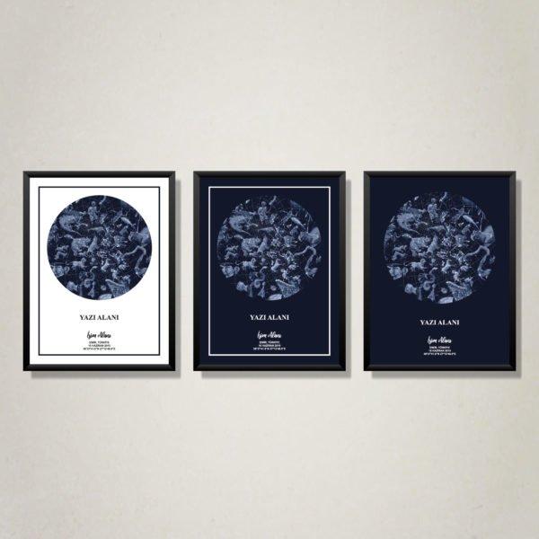 Lacivert renkte Kişiye özel gökyüzü haritası veya kişiye özel yıldız haritası tablo