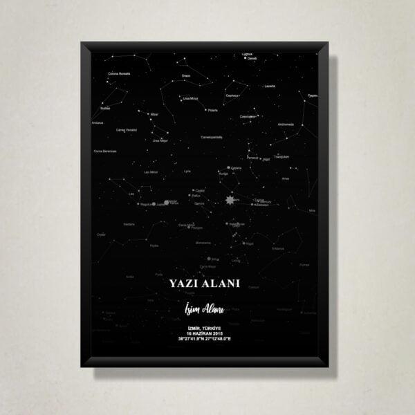 Kişiye özel gökyüzü haritası veya kişiye özel yıldız haritası tablo