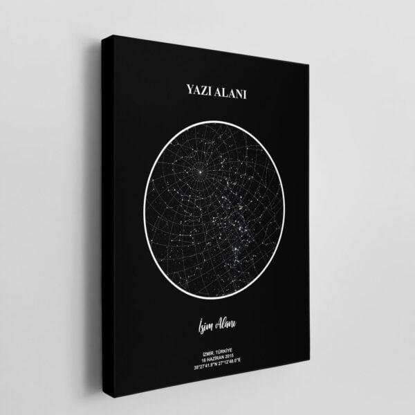Kişiye özel Gökyüzü Haritası veya Yıldız Haritası Kanvas Tablo